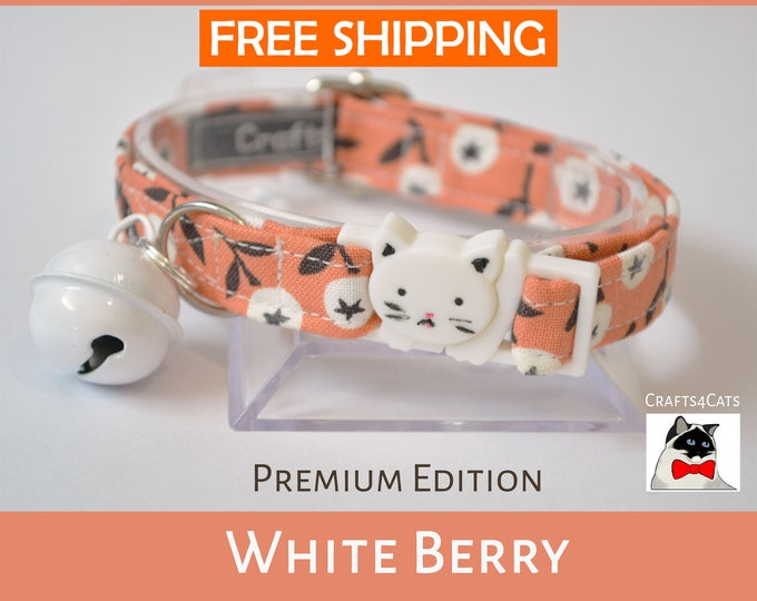 Featured listing image: Cat safety collar with bell 'White Berry' - Autumn theme cat collar with breakaway/safety/quick release cat collar
