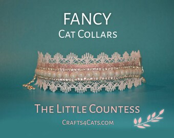 Pearl Cat Collar Satin Cat Collar with Rhinestones, Faux Pearls and Lace, bling cat collar