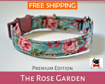 Safety collar with pet tag 'The Rose Garden',summer cat collar,rose kitten collar,vintage cat collar,cat collar,collier chat