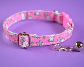 Cat collar with bell 'Bunny' / cat collar, kitten collar, small toy dog collar