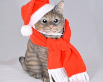 Christmas Elf hat & scarf /hats for cats, hats for dogs, elf hat, santa hat, costumes for cat, costume for dog, personalized scarf