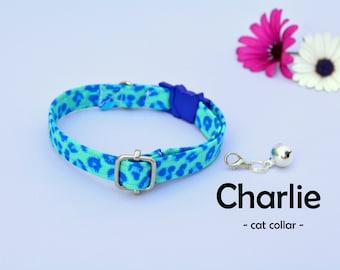 Cat collar with bell 'Chloe' / blue leopard cheetah cat / kitten collar breakaway, small toy dog collar