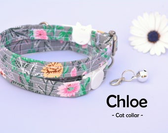 Collar 'Chloe' (breakaway) / floral cat collar, kitten collar, cat collar with bell, spring handmade / CRAFTS4CATS