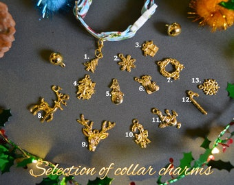 collar charms ADD ON kitten collar charms - golden charms for pet collars -  Tree - Santa charms - Snowflake charm - Gift