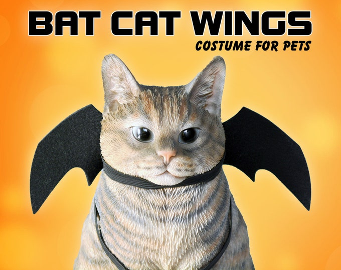 Featured listing image: Cat halloween costume /Bat wings / Halloween costume for cat, bat wings for dogs, cat costume, bat wings for cat, dog costumes, Crafts4Cats
