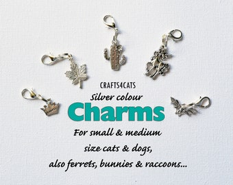 Charms for cat collars (silver colour)/ crown, leaf, cactus, unicorn, bat charms for cat, kitten, dog / CRAFTS4CATS