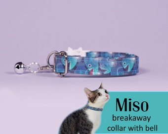 Cat collar Miso (breakaway) / blue cat collar, kitten collar, cat collar with bell, Halloween cat collar