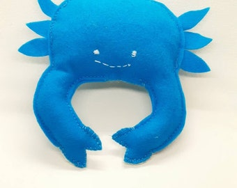Large Crab cat toy, handmade catnip toy - wool felt cat toy filled with fresh catnip - kitten toys, gift for cat - Crafts4Cats