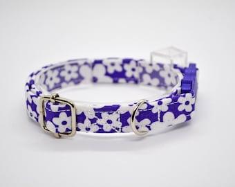 Daisies purple cat collar, kitten collar, breakaway cat collar, non breakaway dog collar, Crafts4Cats