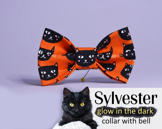 Featured listing image: Halloween cat collar bow tie Sylvester - with black cats glow in the dark eyes, cat collar with bell, kitten collar, cat collar breakaway