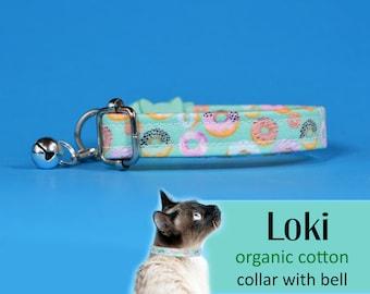 Cat collar Loki Doughnuts organic cotton collar, kitten collar, cat collar with bell, green blue cat collar