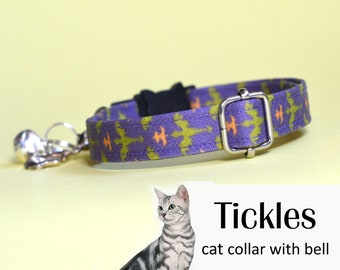Cat collar Tickles / green dragons on purple cat collar with bell, kitten collar, small dog collar Halloween Thanksgiving, fall/autumn