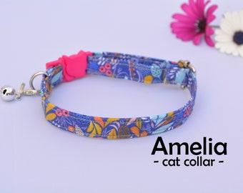 Collar 'Amelia (breakaway) / floral cat collar, kitten collar, cat collar with bell, spring handmade / CRAFTS4CATS