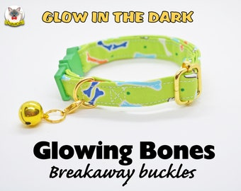 Cat collar 'Glowing Bones' (breakaway), glow in the dark, green cat collar, automn/fall dog collar, Halloween Crafts4Cats