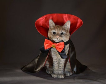 Cat Halloween costume //Countess Dracula//cat pet costumes for cats, Dracula cape for pet dog, handmade costume by Crafts4Cats