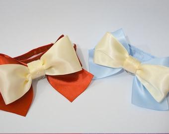 Party cat bowtie - satin cat bow tie for cat collars - two colour cat bow tie -  posh cat bowtie, cute cat bowtie, pretty cat bowtie,