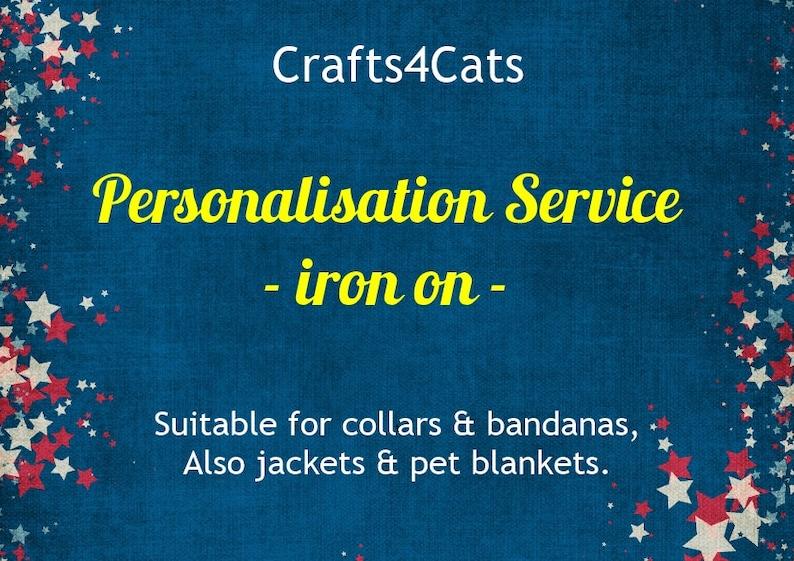 Personalisation service iron on for collars bandanas image 0