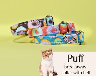Cat collar Puff Doughnuts / blue, chocolate, peach cat collar, kitten collar, cat collar with bell