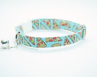 Cat collar // Pizza cat collar // kitten collar, cat collar, breakaway, non breakaway, blue cat collar, cute cat collar, crafts4cats