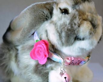 Cat collar with rose, cute breakaway collar, pink cat collar