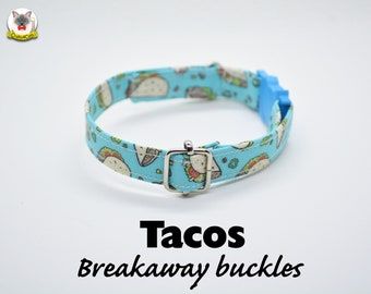Collar 'Tacos' (breakaway) / cat collar, kitten collar, dog collar, cute collar, blue, silver, food cat collar with bell / CRAFTS4CATS