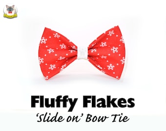 Cat bow tie 'Fluffy Flakes' / red cat bow tie with snowflakes, dog bow tie,cat collar with bow,christmas bow tie,pet bow tie, Crafts4Cats