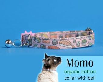 Cat collar Momo (breakaway) / organic cotton collar, kitten collar, cat collar with bell, pink sushi collar