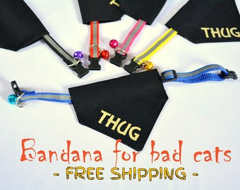 Thug cat bandana with cat collar, black cat,  slip over cat collar bandana, funny gifts for pets