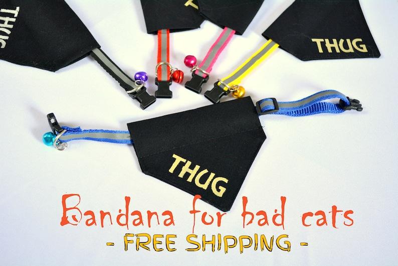 Thug cat bandana with cat collar black cat  slip over cat image 0