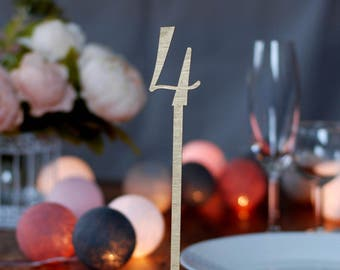 Golden table numbers with foot, Wedding table numbers with stand, Wood table numbers, Selfstanding table numbers, Rustic wedding, TN-16