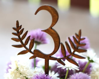 Table numbers, Wedding table numbers, Wood table numbers, Rustic wedding decor, Brown table numbers, Numbers on stick TN-17