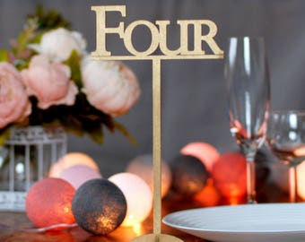 Table numbers with foot, Wood table numbers, Wedding table numbers with stand, Golden table numbers, Rustic wedding, Numbers on stick TN-15