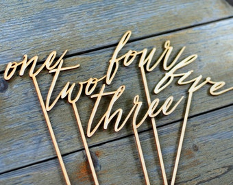 Wood table numbers, Wedding table numbers, Blank table numbers, DIY wedding, Rustic wedding decor, Lasercut numbers, Numbers on stick TN-9