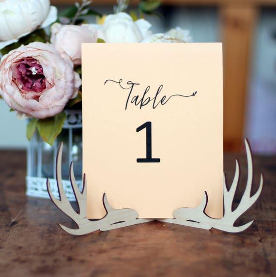 Tabelle Anzahl Halter Mit Geweih Hochzeit Menukarten Halter Etsy