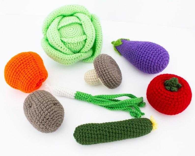 Crochet Vegetables Set Birthday Gift for Kids Kitchen Decorations Crochet Play Food Set 8 pcs