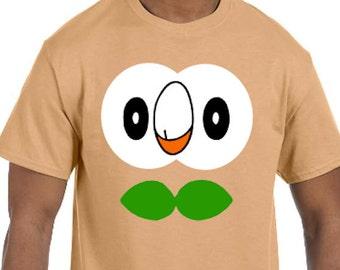 e1b030fac Rowlett Face Pokemon Go Cosplay Parody T-Shirt * Sizes YXS - 5XL* Ladies  Sizes * Sun and Moon Starter * Mystic * Valor * Instinct