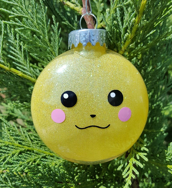 Pikachu Christmas Ornament.Pikachu Face Pokemon Go Parody Christmas Holiday Ornament Add Year And Or Name For Free To Back Raichu Pichu