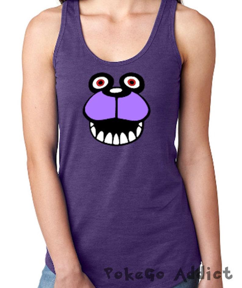 Bonnie the Bunny Face Five Nights At Freddys Cosplay Parody Ladies  Racerback Tank Top * Sizes XS - 2XL * FNAF * 5NAF * Freddies * Fazbear