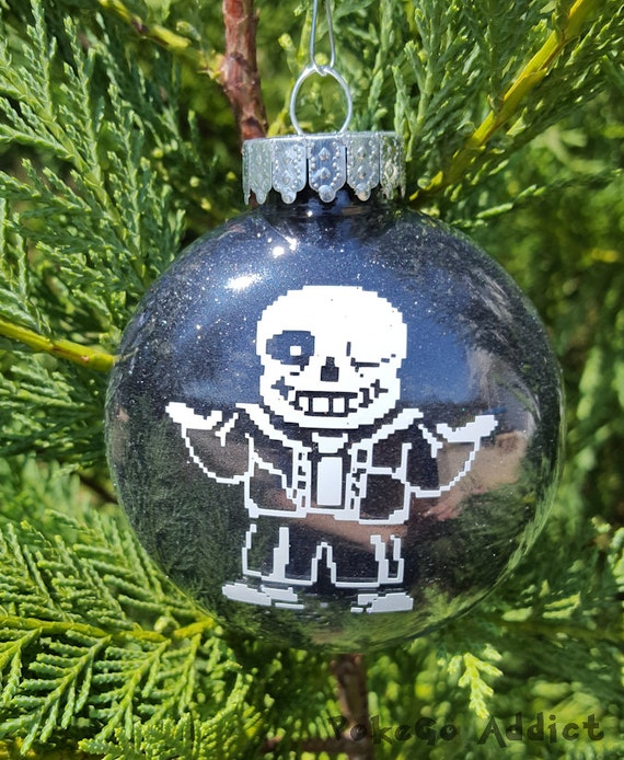 Undertale Christmas.Sans Undertale Parody Christmas Holiday Ornament Add Year And Or Name For Free To Back Under Tale