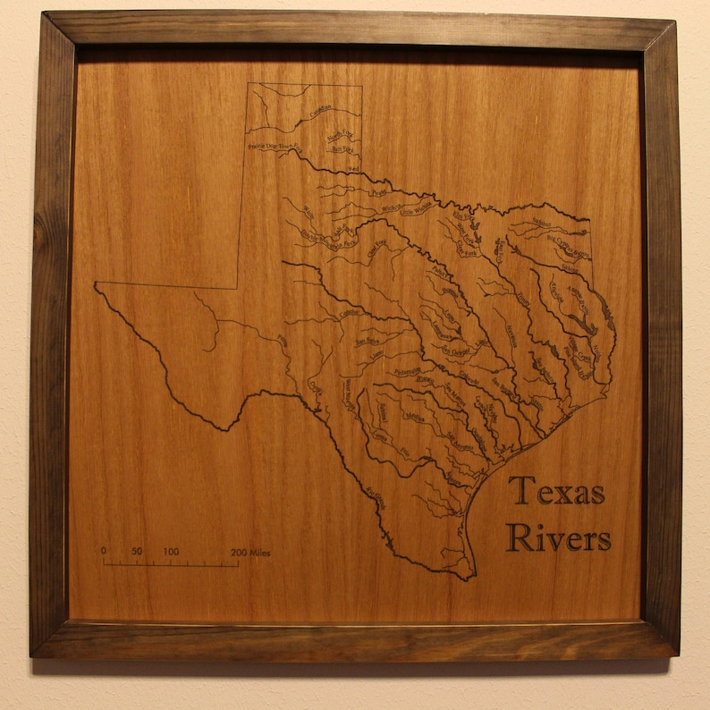 Free Map Of Texas.Map Of Texas Rivers Engraved On Wood Free Shipping