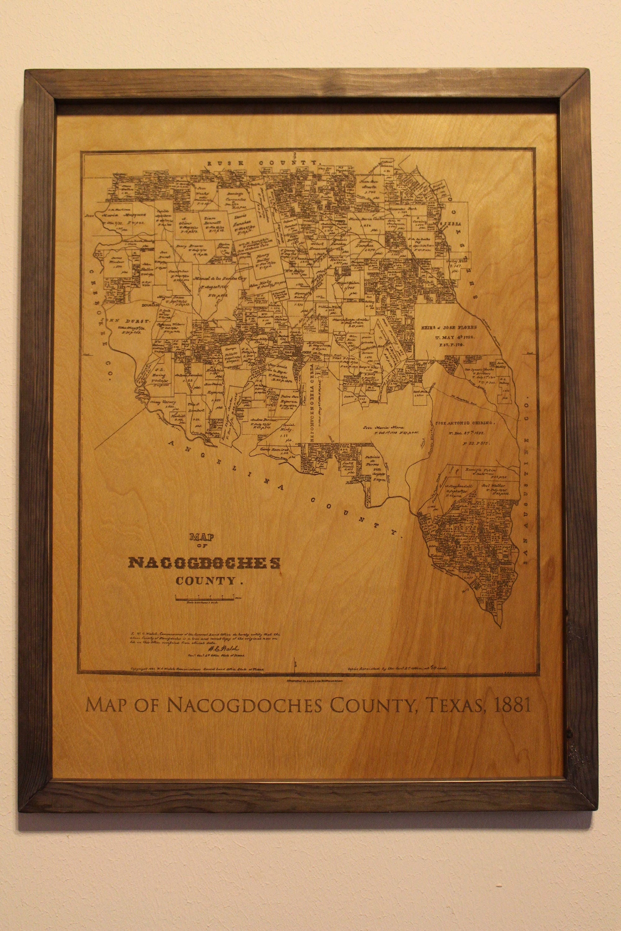 Nacogdoches Zip Code Map.Historical Map Of Nacogdoches County Texas Engraved On Wood Free