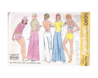 1970s Simplicity 5640 Misses Top, Halter Top and Bell Bottom Hip Hugger Pants or Shorts Vintage Pattern