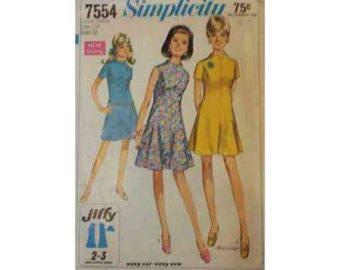 1960's Simplicity 7554 Dress Pattern Size Junior Petite 7JP