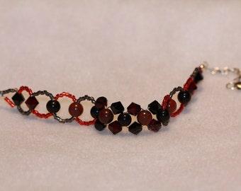 Breccicated Jasper and Obsidian Bracelet with Swarvoski Crystals--Gem Beads