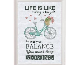 Funny cross stitch pattern bike, inspirational quote embroidery pattern, easy cross stitch pdf bicycle pattern quote funny embroidery design
