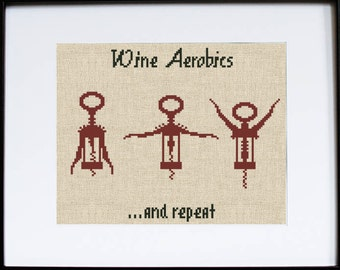 wine cross stitch pattern funny hand embroidery kitchen chart aerobics modern needlepoint design beginners inspirational quote - Bakers Gonna Bake Kitchen Redwork Embroidery Designs
