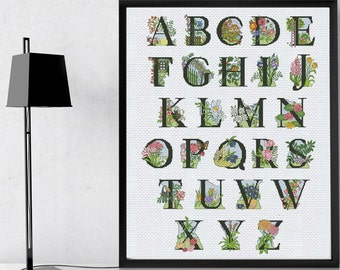 LETTERS cross stitch alphabet pattern, floral fonts cross stitch pdf letters embroidery pattern, counted cross stitch font alphabet pattern