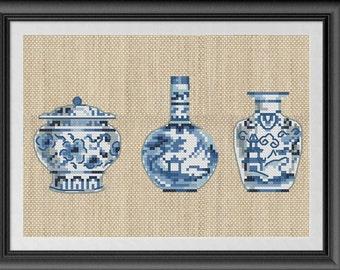 Chinese cross stitch vase pattern, vase embroidery pattern, Chinese vase easy cross stitch pdf blue white cross stitch oriental cross stitch