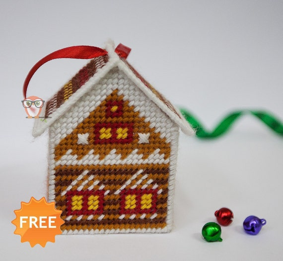 FREE Plastic Canvas Pattern Gingerbread House Christmas Cross Etsy Impressive Easy Plastic Canvas Patterns