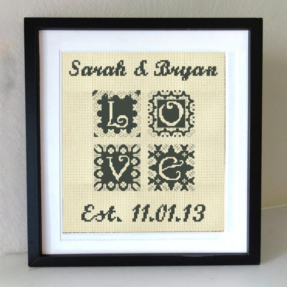WEDDING cross stitch modern wedding cross stitch pattern